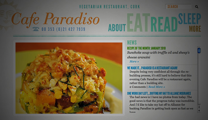 Website for Cafe Paradiso